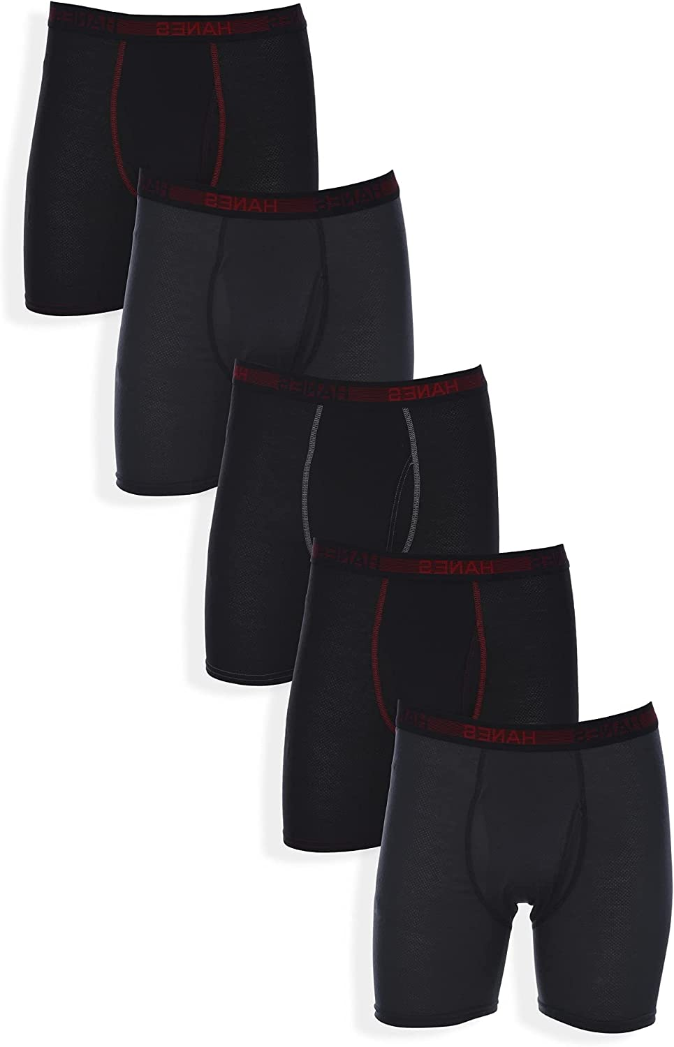 Hanes mens Sport Pack FreshIQ boxer briefs, Assorted Sport Breathable Mesh, X-Large US