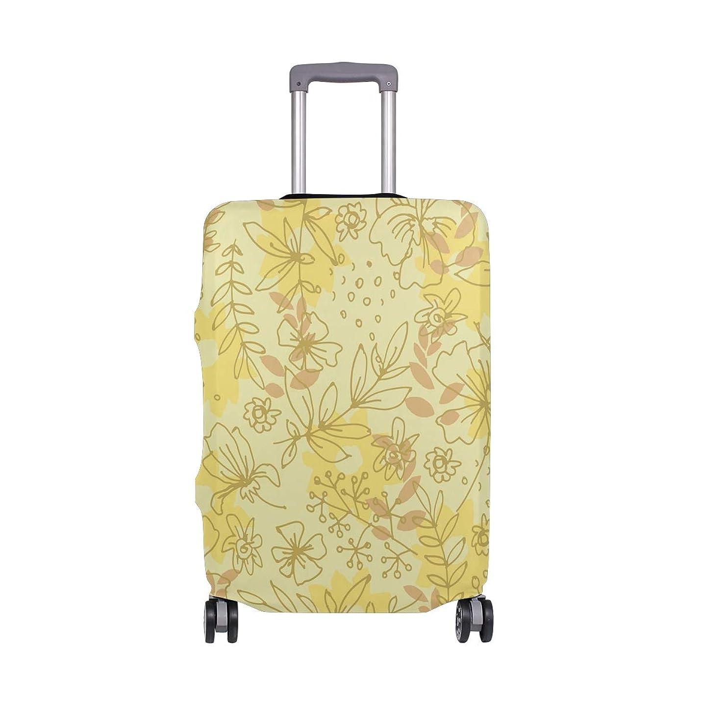 攻撃的受益者乏しいスーツケースカバー 荷物カバー 黄色 花柄 伸縮素材 ラゲッジカバー 防塵 擦り傷防止 トラベルアクセサリ 旅行