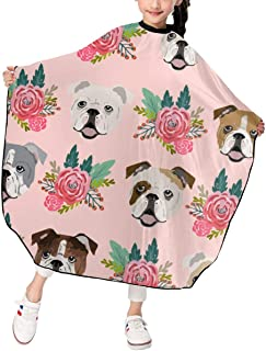 EWD8EQ English Bulldog Pink Florals Kids Girls Haircut Barber Cape Cover for Hair Stylist Salon Styling