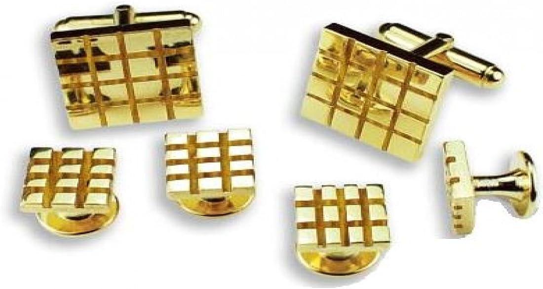 Checkerboard Design Tuxedo Studs and Cufflinks Gold Trim