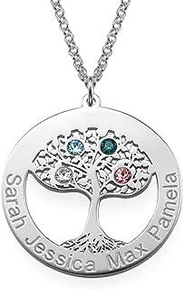 Personalized Tree of Life Circle Necklace with CZ Birthstones-Custom Jewlery