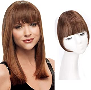 AISI QUEENS Clip in Bangs 100% Human Hair Extensions Medium Brown Clip on Fringe Bangs with nice net Natural Flat neat Bangs with Temples for women One Piece Hairpiece for Daily Wear