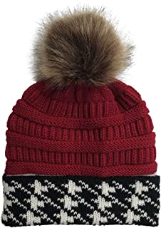 Womens Knit Holey Beanie Cap Autumn Winter Outdoor Faux Fur Ball Hats Crochet Hat