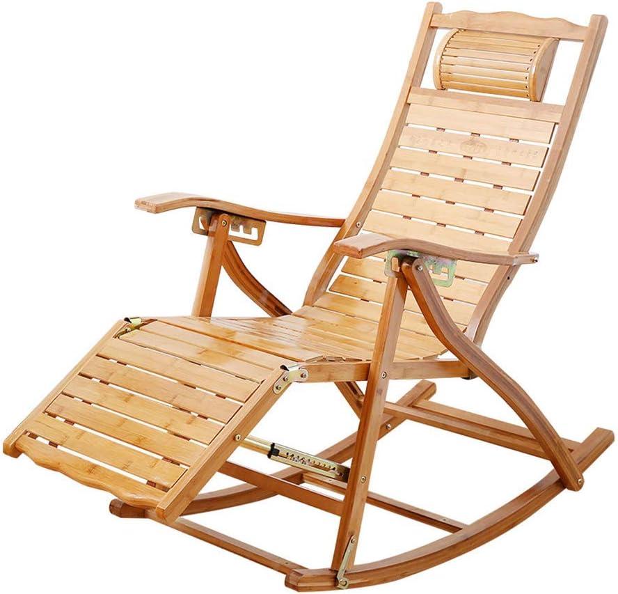 WLALLSS Tumbona Plegable bambú Tumbona en jardín al Aire Libre Silla Madera Mecedora con reposapiés extendidos Tumbona reclinable Silla Siesta Ocio