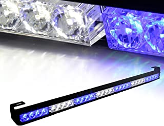 "Xprite 31.5"" 28 LED 7 Modes Traffic Advisor Emergency Warning Vehicle Strobe Light Bar Kit (White/Blue)"
