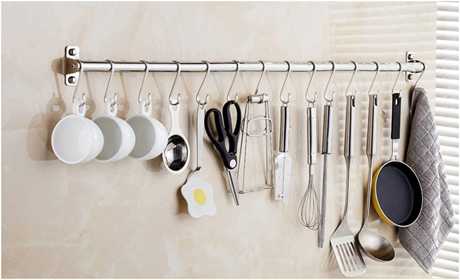Kitchen Shelf Storage Rack 304 Stainless Steel Wall-Mounted Without Drilling Hook Type Crossbars Wall-Mounted (Size   100CM)