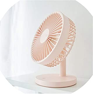 tlongtea65 Portable 3 Speed Table Mini Rechargeable USB Handheld Fan for Office Home Travel Pink