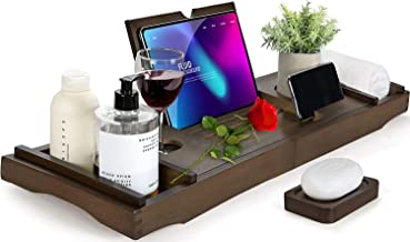 HB-life Bamboo Bathtub Caddy Tray with Extending Sides, Cellphone iPad Tray and Wineglass Holder,Free Soap Holder (Black)