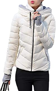 Macondoo Women Slim Quilted Puffer Hoodie Cotton-Padded Down Jacket