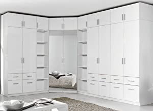Rauch Celle Wardrobe and Cap/White Body, Front: White High Gloss