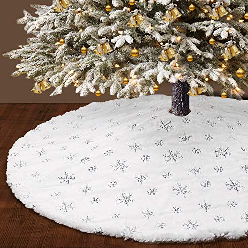 DmgicPro 48 Inch Large Christmas Tree Skirt Thick Faux Fur Snowy White Double Layers Xmas Tree Skirt for Xmas New Year Holiday Party Home Ornaments