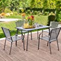 AECOJOY 5-Piece Metal Outdoor Patio Dining Set, Outdoor Metal Dining Table Set with Rectangular Table and 4 Stackable Arm Chairs,Patio Dining Bistro Set for Garden, Backyard, Balcony,Dark Gray