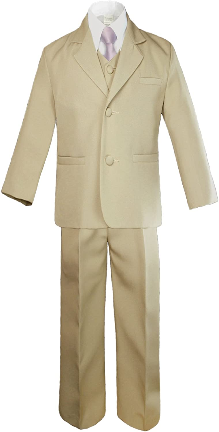 Unotux 6pc Boys Khaki Vest Sets Suits with Satin Lilac Necktie Outfits Baby Teen