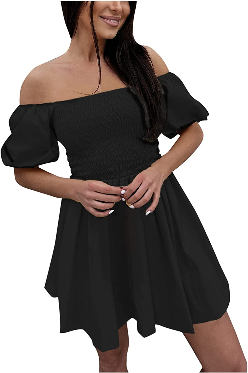 Sayhi Women's Party Dresses Solid Color Hedging Tube Top Short Sleeve Draw Back Casual Tunic Dresses