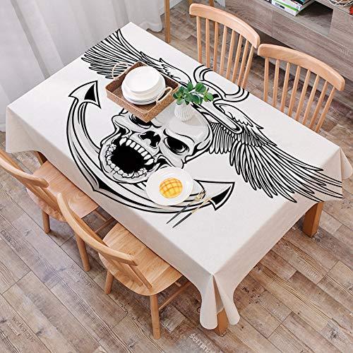 Tischdecke abwaschbar 140x200 cm,Anker-Dekor, Schädel mit Anker und Eagle Wings Freiheit Symbol Teufel Sea Hunter Skelett Mythos Gra,Ölfeste Tischdecke, geeignet für die Dekoration von Küchen zu Hause