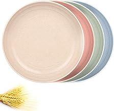 أطباق حبوب كبيرة، طبق فاكهة 25.4 سم، أطباق خفيفة الوزن من ألياف قش القمح 4، أطباق آمنة للاستخدام في غسالة الصحون والميكروو...