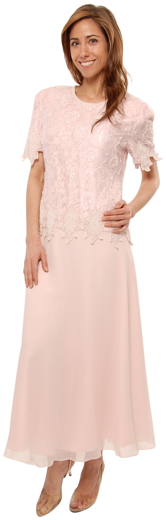 Available at Amazon: The Evening Store Tea Length Mother of The Bride Pink Plus & Regular Sizes
