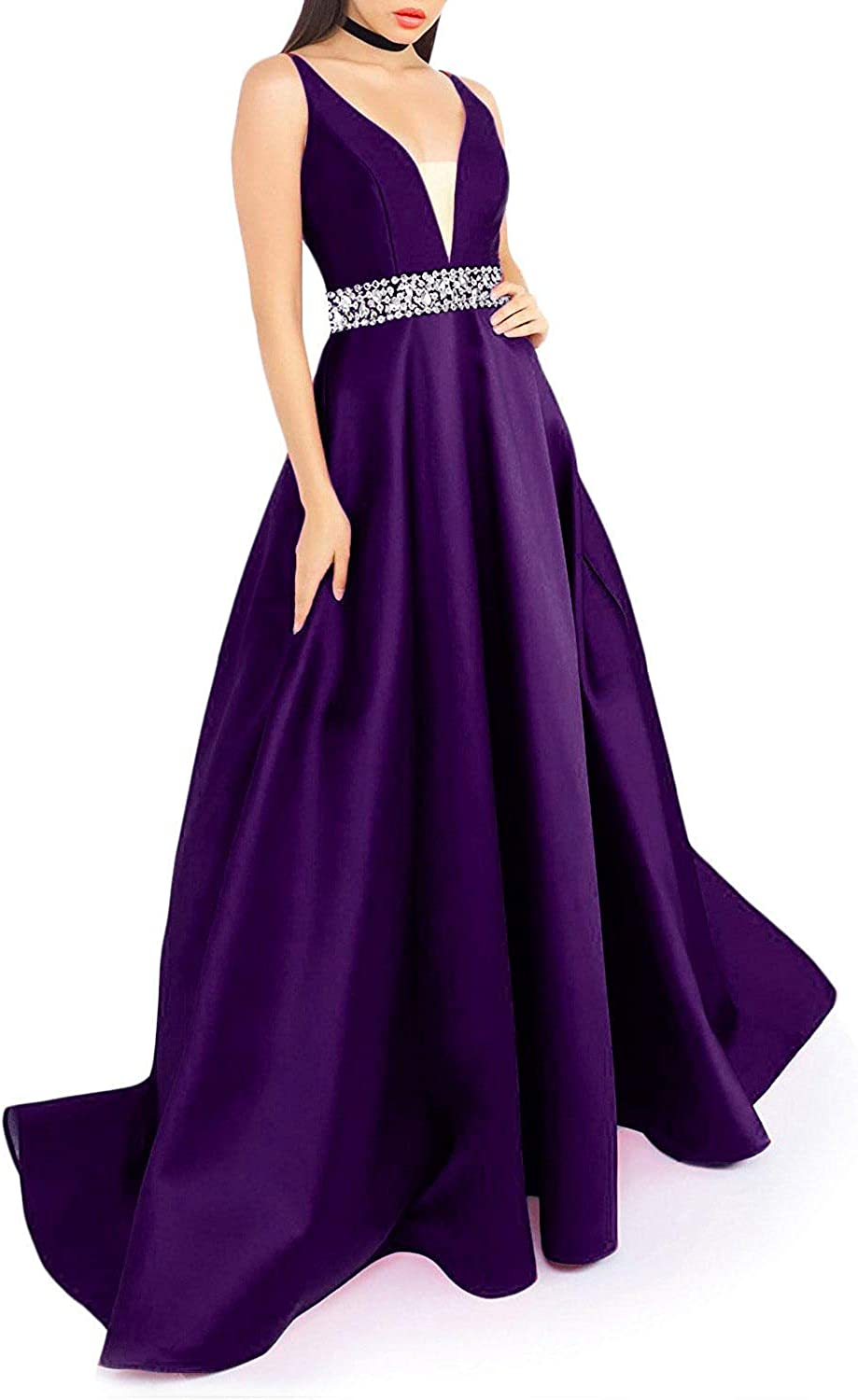ZLQQ Women's VNeck Prom Dress with Pockets Long Beaded Evening Dresses Formal Gowns
