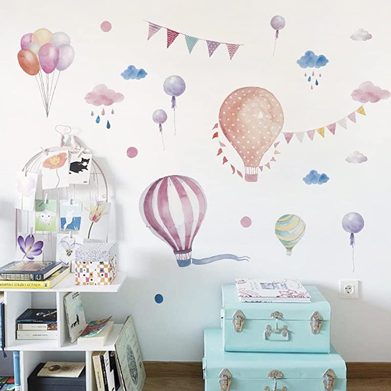 Colourful Hot Air Balloons Wall Decals Cloud Raindrop Removable Wall Stickers For Kids Nursery Bedroom Living Room
