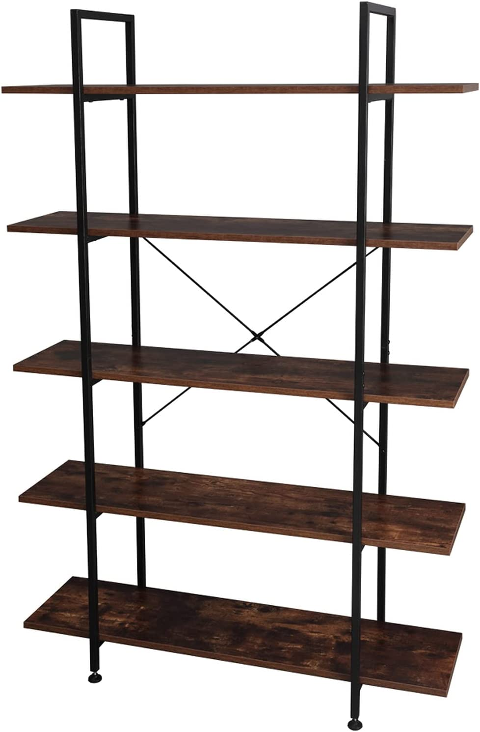 WHuiQin low-pricing Complete Free Shipping 5-Tier Bookcase and Wood Bookshelves Bookshel Metal