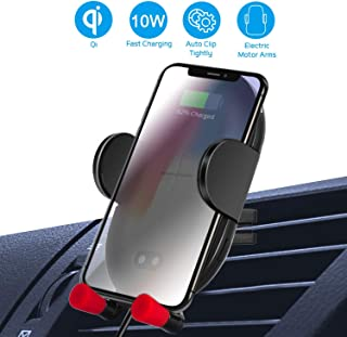Wireless Car Charger Mount, Automatic Clamping QI Fast Charge, 10W Car Charger Adjustable Gravity Air Vent Phone Holder Compatible with iPhone Xs Max/XR/X/8/8+, Samsung S10/9/8/7 Edge Note 9 and More