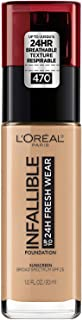 L'Oréal Paris Makeup Infallible up to 24HR Fresh Wear Liquid Longwear Foundation, Lightweight, Breathable, Matte Finish, Medium-Full Coverage, Sweat & Transfer Resistant, Radiant Honey, 1 fl. oz.