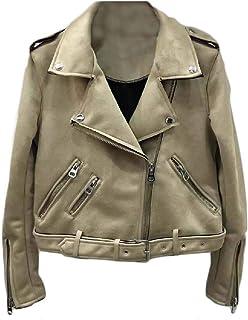 Macondoo Womens Fashion Coat Moto Biker Oblique Zipper Sueded Slim Jacket