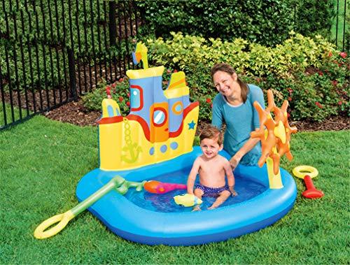 GOLDGOD Kinder Planschbecken, Kreuzfahrtschiff-Pool (Nicht Sprühbar) Aufblasbarer Gartenpool