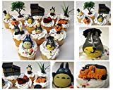 """TOTORO 12 Piece Birthday CUPCAKE Topper Set Featuring Chu Totoro, Chibi, Catbus and Other Totoro Characters, Themed Decorative Accessories, Figures Average 1"""" to 2"""" Inches Tall"""