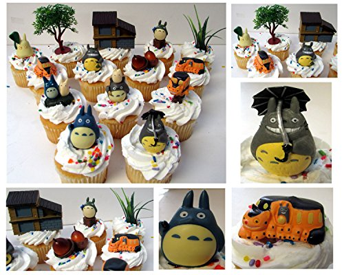 "TOTORO 12 Piece Birthday CUPCAKE Topper Set Featuring Chu Totoro, Chibi, Catbus and Other Totoro Characters, Themed Decorative Accessories, Figures Average 1"" to 2"" Inches Tall"