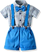 Moyikiss Studio Summer Toddler Boys 2Pcs Gentleman Outfits Cotton Striped Shirt with Bow Tie and Shorts Suit