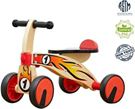 Top Bright Baby Wooden Push Balance Bikes, Scoot Around Ride, Children Walker First Toys for 12 - 24 Months Toddlers Learning Gross Motor Skills
