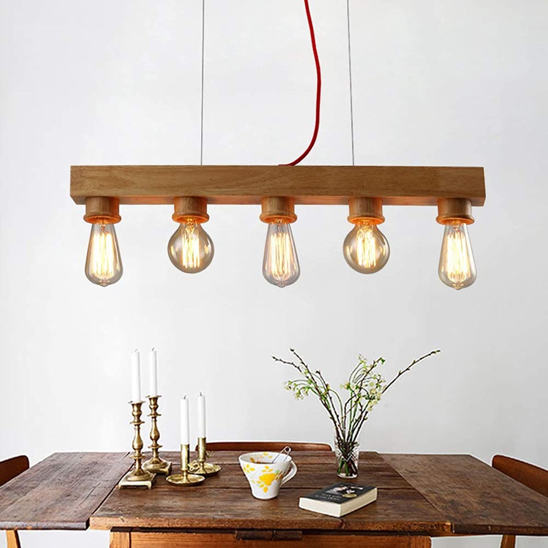 LED Pendelleuchte aus Holz Hngelleuchte esstisch Pendellampe E27  5-Flammig Hngellampe Hhenverstellbar Küchenlampe Esszimmerlampe Esstisch Büro Wohnzimmer Flur Kronleuchter (70cm)