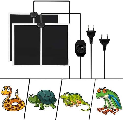 Liuer 2PCS Manta Termica Reptiles Ajustable Reptil Heat Mat con Control De Temperatura Reptiles-Estera de Calefacción...