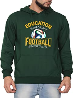 Swag Swami Unisex CottonEducation is Important Football is Importanter FunnyPrinted Hoodie | Hooded Sweatshirt