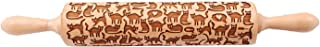 Cat Pattern engraved Rolling Pin (10 Inches) - 3D Embrossed Kitty Shape Wooden Roll Pin- Baking, Cookies, Clay, Kid's Play Dough, Pastry, Fondant, Icing, Pie, Biscuits & Crusts -(Excellent Gift)