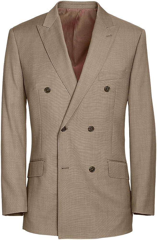 Paul Fredrick Men's Tailored Fit Sharkskin DoubleBreasted Peak Lapel Suit Jacket
