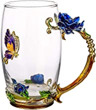 COAWG Glass Tea Cup, 12oz Lead Free Handmade Enamel Butterfly and Blue Rose Flower Tea Mug with Handle, Unique Personalized Birthday Gift Ideas Christmas for Women Grandma Mom Female Friend(Tall Blue)