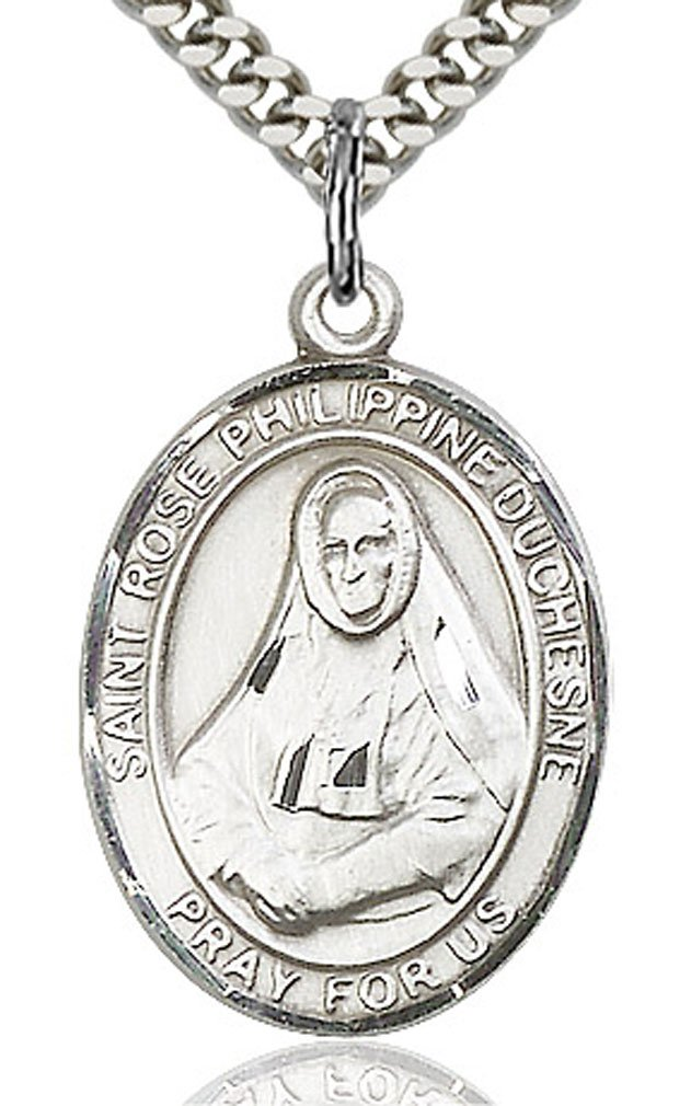 Heartland Engravable Mens Sterling Silver Saint Angela Merici Oval Medal Customize Choose Chain