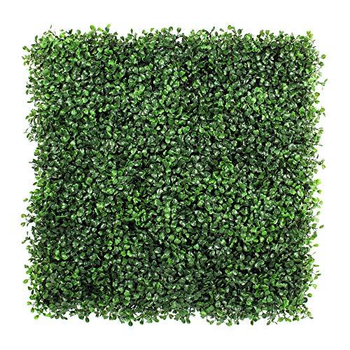 Pannelli di foglie di edera artificiale, piante decorative verdi a cespugli , sfondo di piante a muro per esterni, barriera protettiva per privacy, recinzione con siepi da giardino, confezione da 6 pezzi, 50,8x 50,8cm