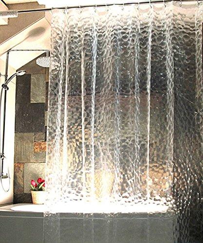 Duschvorhang Anti-Schimmel von ShowPower Nr.1017, EVA Wasserdichter Duschvorhang Transluzent Kieselsteine 180 x 180 cm, mit Frei 12 Ringe, Weiß