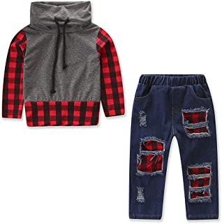 2PCS Kids Baby Boys Girls Plaid Long Sleeve Tops + Denim Pants Leggings Outfits Clothes Set