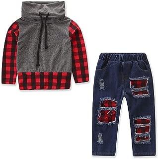 2PCS Kids Baby Boys Girls Plaid Long Sleeve Tops + Denim Pants Leggings Outfits Clothes Set