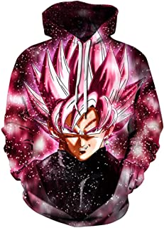 Unisex Realistic Anime Hoodie Dragon Ball Naruto Bleach 3D Print Pullover Hooded Sweatshirt