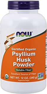 NOW Supplements, Psyllium Husk Powder, Certified Organic, Non-GMO Project Verified, Soluble Fiber, 12-Ounce