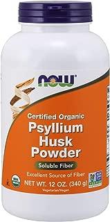 NOW Supplements, Organic Psyllium Husk Powder, 12-Ounce