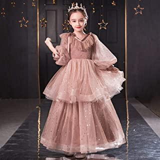 Luxury Pompon Yarn Princess Dress Girl Child Long-Sleeved V-Neck Dress Little Girl Dress Western Style Piano Performance Clothing Small Host ryq (Color : Chocolate, Size : 130cm)
