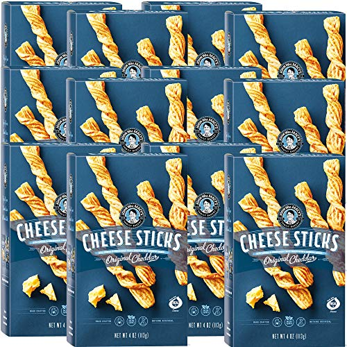 John Wm. Macy's CheeseSticks, Natural Crunchy Cheese and Sourdough Twists in Original Cheddar, 4 Ounce Box, 12 Count.