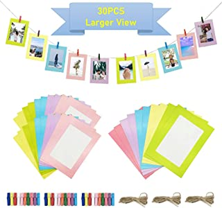 "30PCS DIY Paper Photo Frames 5""x7"" & 4""x6"" Multicolor New Full View Size Wall Deco Picture Mat Frames for Home College Office with 30pcs Clips and Ropes"
