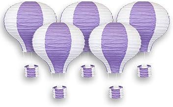 Just Artifacts Decorative 12-Inch Hot Air Balloon Paper Lanterns (5pcs, Petunia Purple & White)